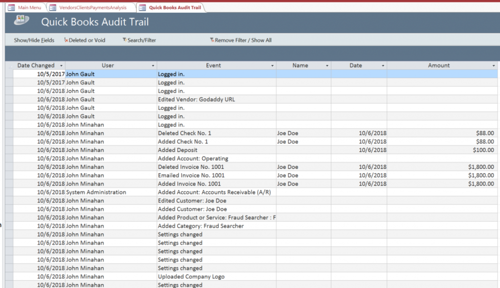 Quickbooks audit trail fraud detections
