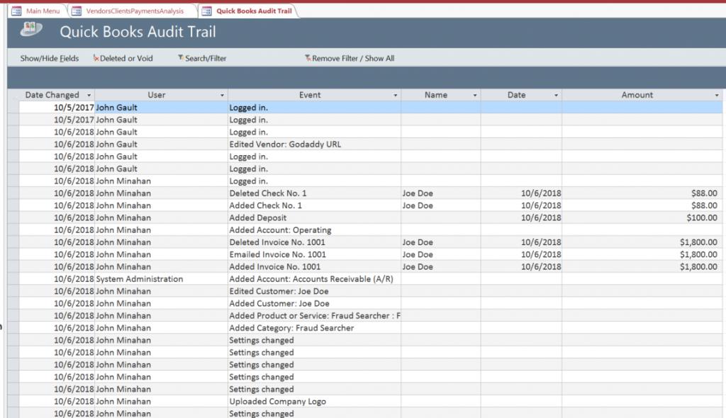 Quickbooks audit trail fraud detections